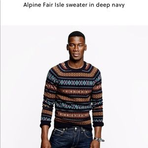 J Crew Alpine Fair Isle Sweater in deep navy